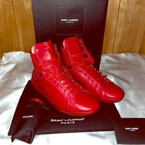 Saint Laurent SL/01H Red Hightop Sneakers